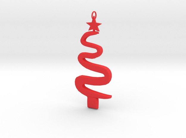Christmas Tree Ornament in Red Processed Versatile Plastic