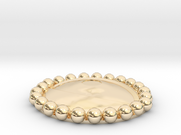 Eye Agamotto charm with beaded bezel in 14K Gold