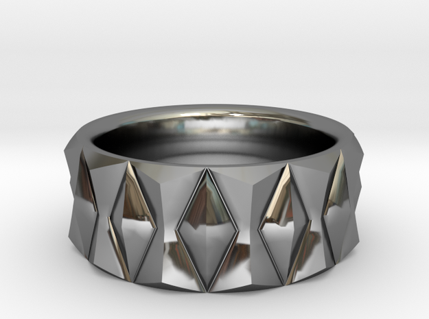Diamond Ring V3 - Curved in Fine Detail Polished Silver
