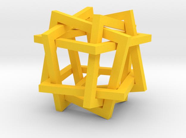 square star ornament in Yellow Processed Versatile Plastic