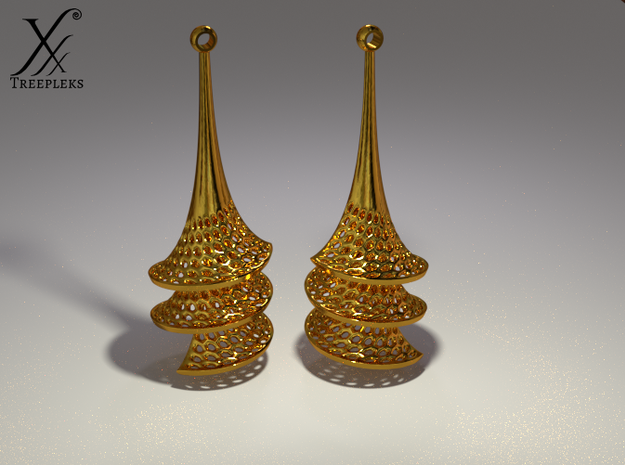 Dini's Surface Earrings 3d printed Golden Dini's (Cyle render in Blender).