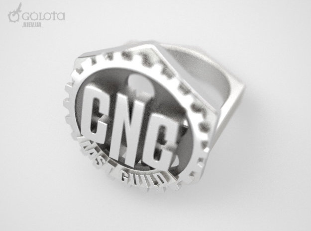 CNC Guild Ring - 9 size in Polished Bronzed Silver Steel