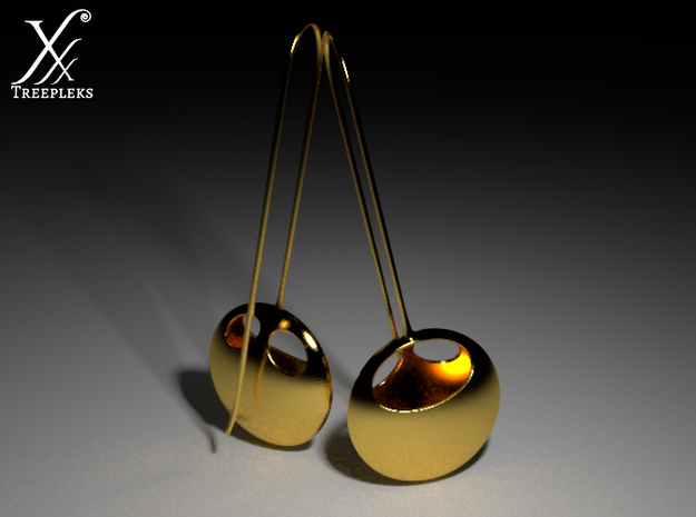 i-Lens Eyes 3d printed Gold plated brass version (Cycle render).