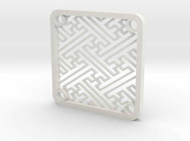 "40mm Fan Guard, Japanese Traditional Pattern ""Saya in White Natural Versatile Plastic"