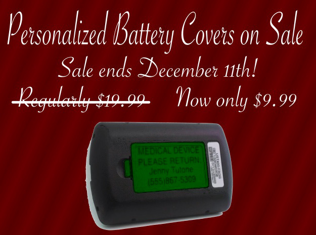 OmniPod PDM Personalized Battery Cover  3d printed 2016 Holiday Sale!