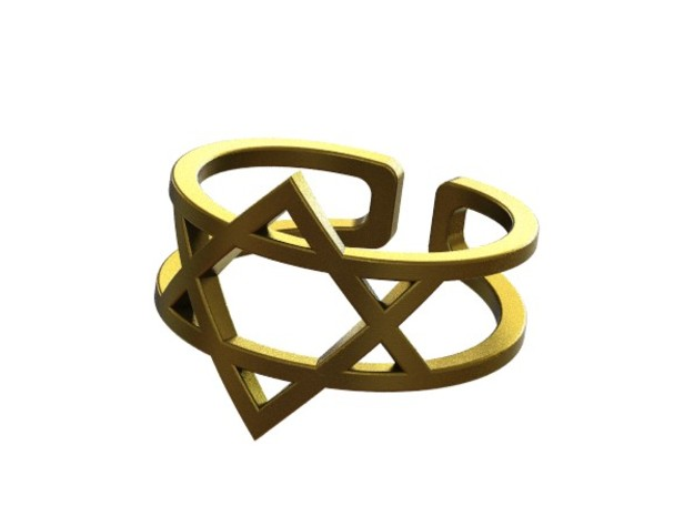 Star Of David Ring 3d printed Gold plated- Rendered