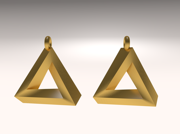Penrose Triangle - Earrings (17mm | 2x mirrored) 3d printed rendered image
