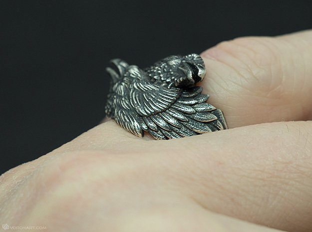 Two Ravens Ring 3d printed Blackened Silver. You'll get the ring without a blackening, but you can do it yourself