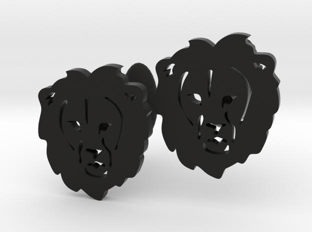 Lion Cufflinks in Black Natural Versatile Plastic