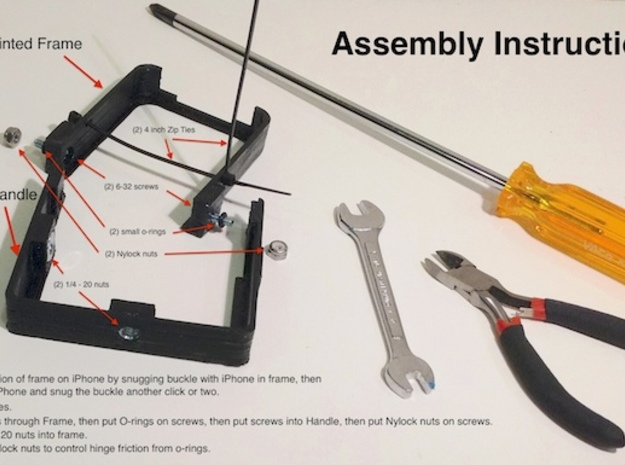 HandleStand for iPhone 3d printed Assembly instructions