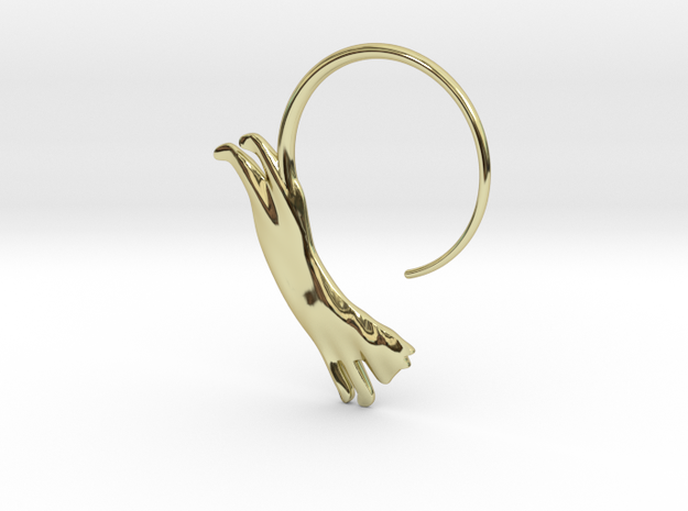 Leaping Cat Earring in 18k Gold Plated Brass