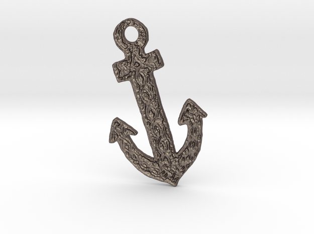 Celtic Anchor Pendant 1 by Gabrielle in Polished Bronzed Silver Steel