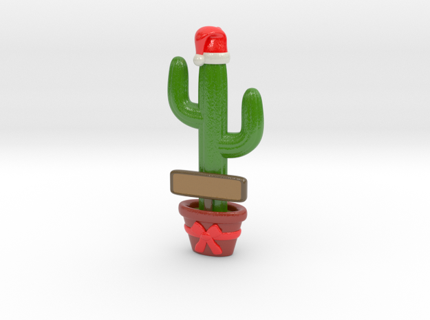Cactus Christmas Ornament (Customizable!) in Glossy Full Color Sandstone