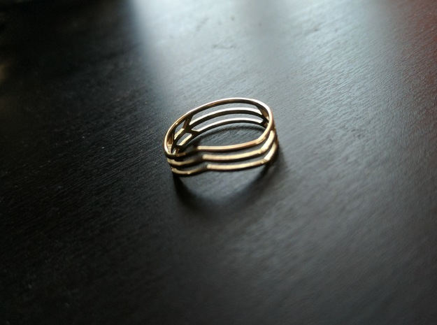 Chevrons Ring in Polished Brass: 7.75 / 55.875