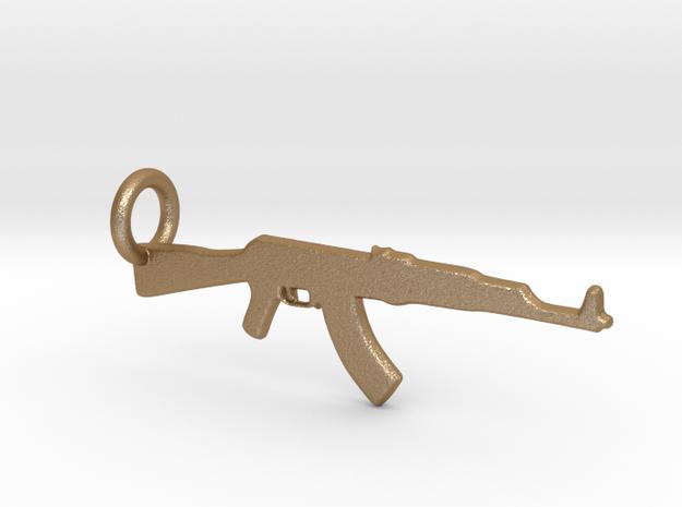 AK 47 Keychain in Matte Gold Steel