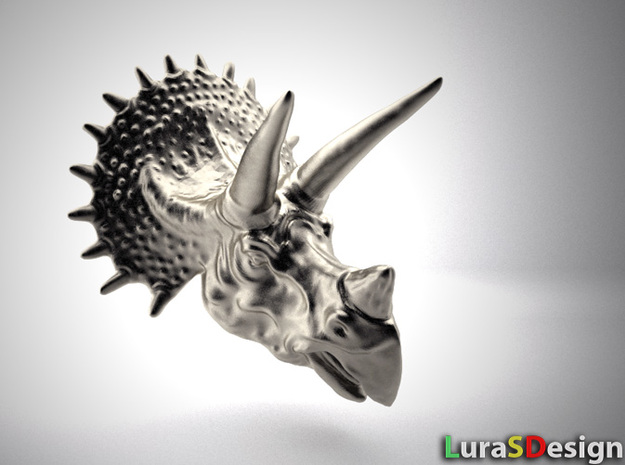 Triceratops Head - Pendant in Polished Bronzed Silver Steel