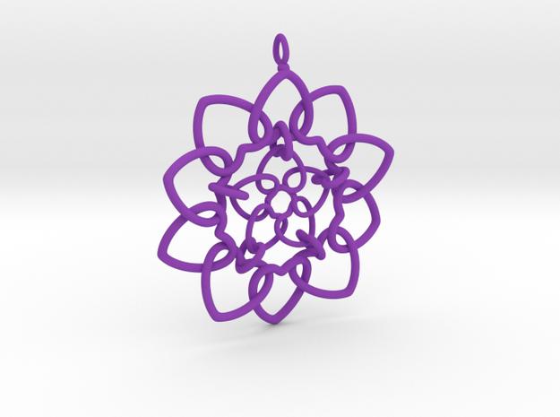 Heart Petals Links - 6.4cm - wLoopet in Purple Processed Versatile Plastic