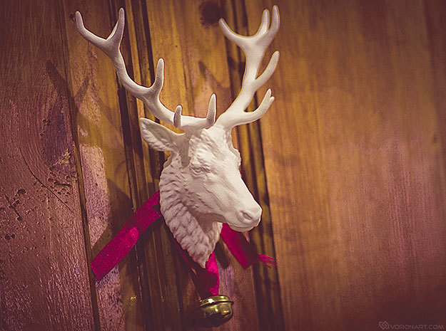Deer Head Wall Mount in White Natural Versatile Plastic