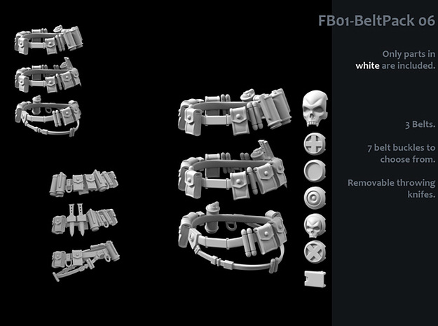 FB01-BeltPack-06  7inch in White Strong & Flexible Polished