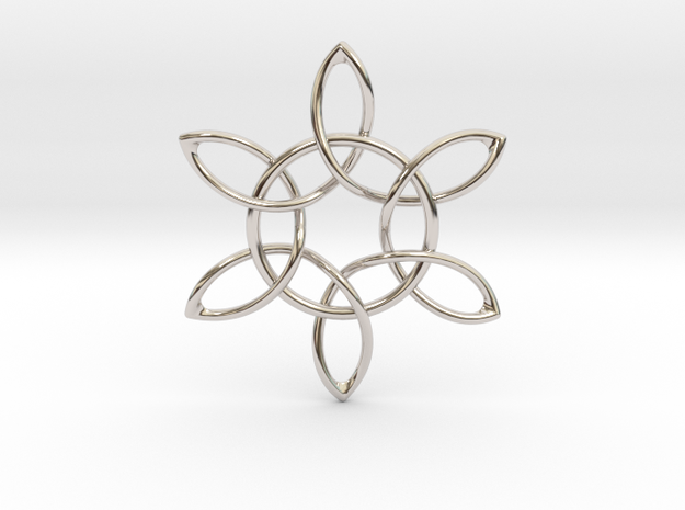 Floral Pendant in Rhodium Plated