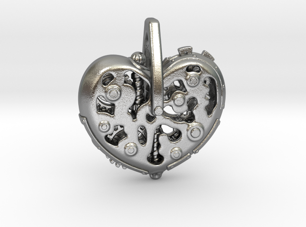 Steampunk Heart Pendant in Natural Silver: Small