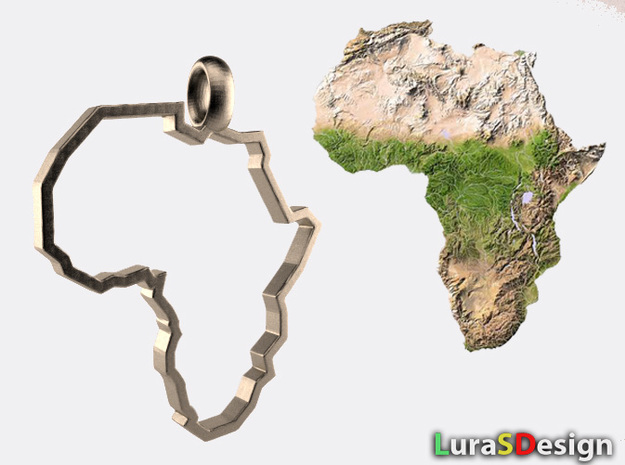 Africa Pendant in Polished Bronzed Silver Steel: Medium