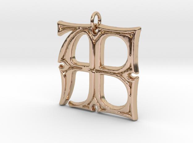 Monogram Initials AE Pendant  in 14k Rose Gold