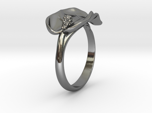 Lily ring in Fine Detail Polished Silver