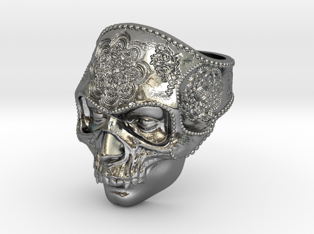 Mandala Skull Ring in Polished Silver