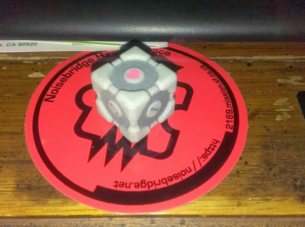 D6 Companion Cube Colored 3d printed D6 Companion Cube printed in full color