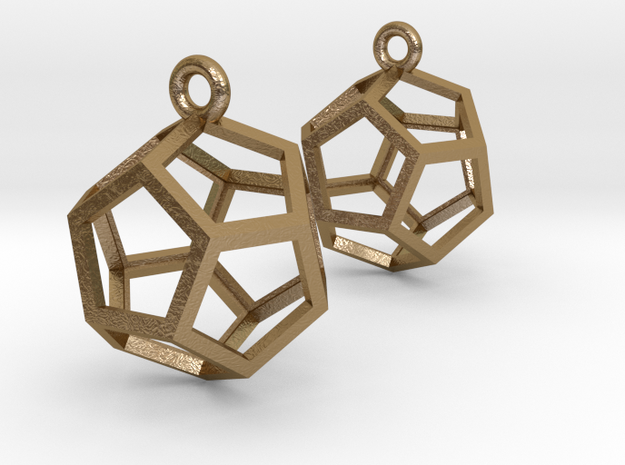 "Dodecahedron Earrings 1"" in Polished Gold Steel"