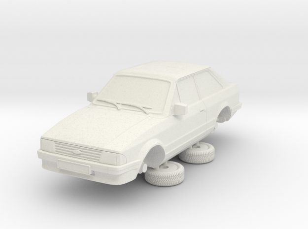 1-64 Ford Escort Mk3 2 Door Standard in White Natural Versatile Plastic