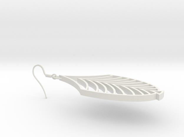Earring Art Deco in White Strong & Flexible
