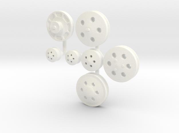 Billet Serpentine Pulleys 1/12 in White Processed Versatile Plastic