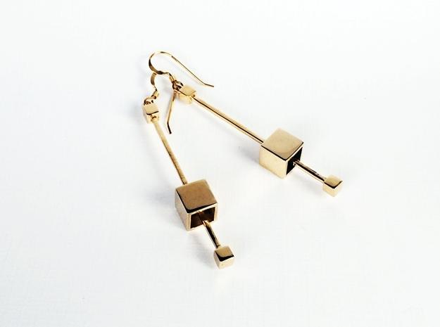 Dangling Cube Earrings - geometric jewelry