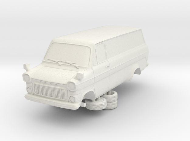 1-64 Ford Transit Mk1 Long Base Van in White Strong & Flexible