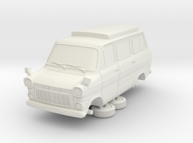 1-64 Ford Transit Mk1 Short Base Camper Van in White Natural Versatile Plastic