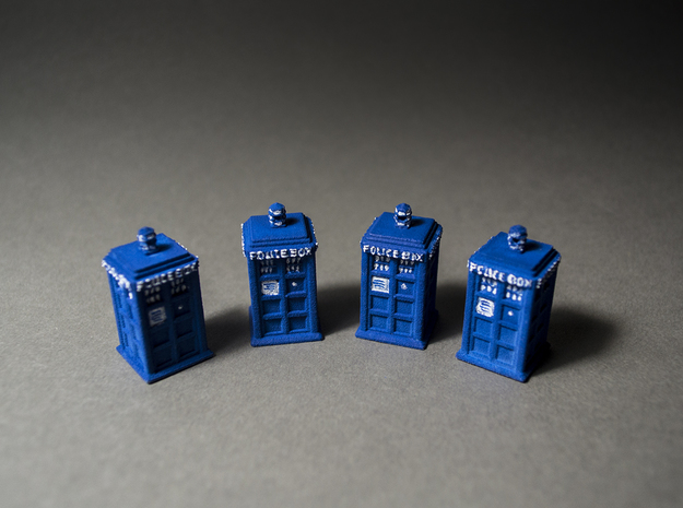 Tardis earring / pendant in Blue Strong & Flexible Polished