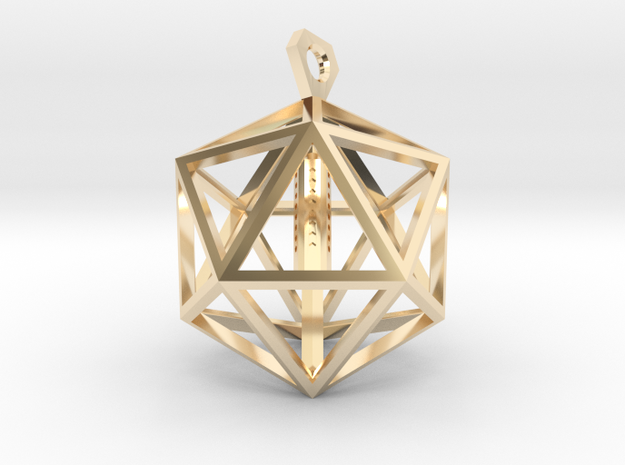 Architectural Icosahedron Pendant in 14K Yellow Gold