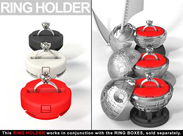 "RING HOLDER - To (*)""ALL NEW RING BOXES"" in Red Strong & Flexible Polished"