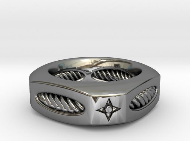 PILLOW ROPE Corner Cut RING in Premium Silver: 9 / 59