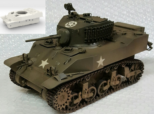 1:18 USA M5A1 Body in White Natural Versatile Plastic