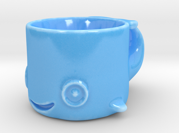 Happy Whale Espresso Cup in Gloss Blue Porcelain