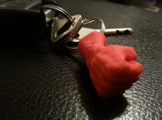 Fist Key Chain Charm in Red Processed Versatile Plastic