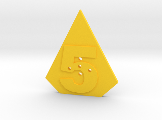 5-hole, Number 5, 5 Sided Shape Button in Yellow Strong & Flexible Polished
