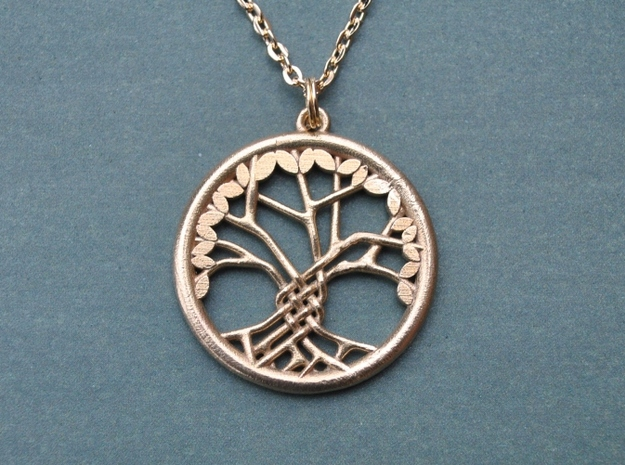 Tree Of Life Pendant in Natural Brass: Medium
