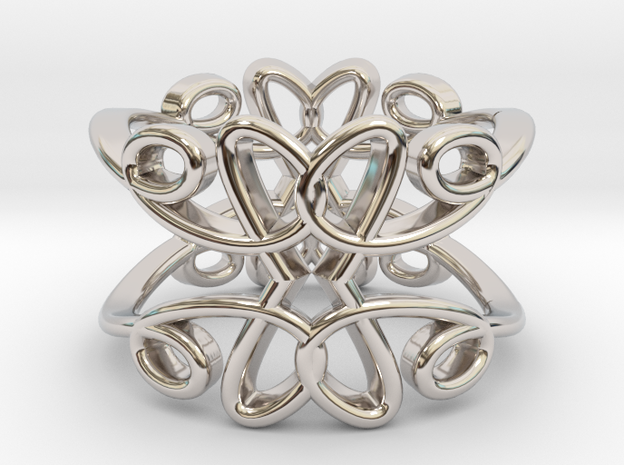 Queen of Hearts Ring in Rhodium Plated