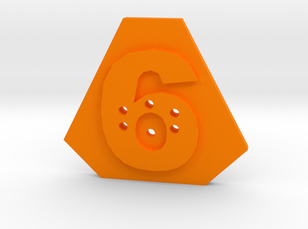 6-hole, Number 6,  6 Sided Shape Button in Orange Strong & Flexible Polished