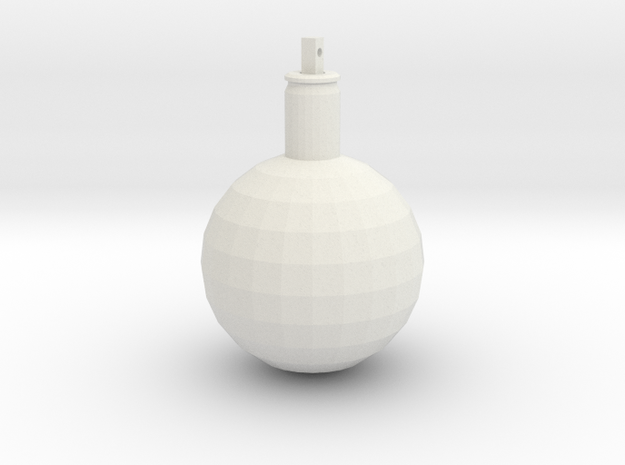 Ball ornament with cartridge case in White Natural Versatile Plastic