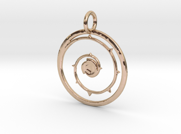 Steven Universe Shield Pendant  in 14k Rose Gold Plated Brass